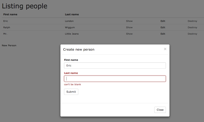 Rails 4 submit modal form via AJAX and render JS response as table