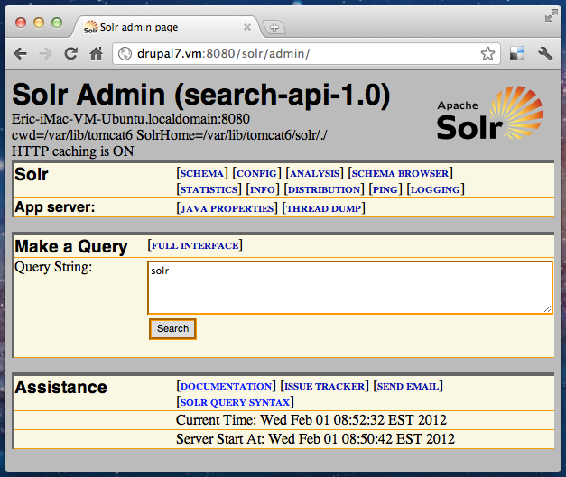 Solr Admin Page