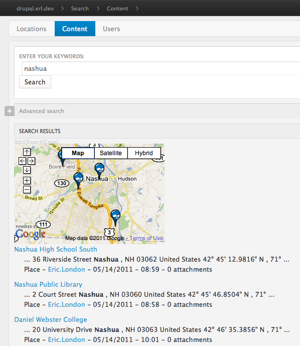 GMap search results