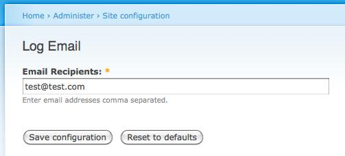 Log Email Admin Settings