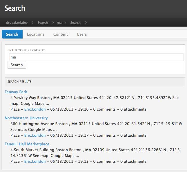 Drupal Solr GeoSpatial Results